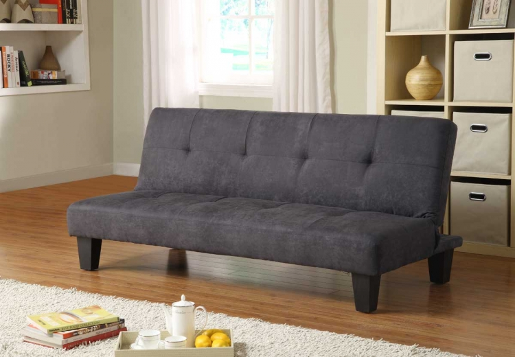 Albert Elegant Lounger Sofa Bed - Black Microfiber - Homelegance