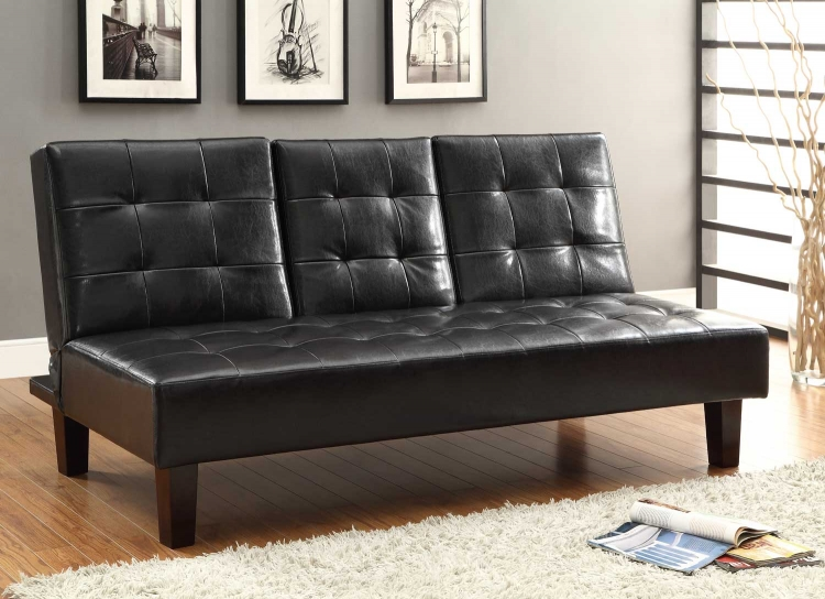 Reel Click-Clack Sofa Bed - Dark Brown - Tufted Fronts