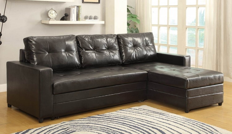 Kemen Elegant Lounger Sofa Bed - Dark Brown