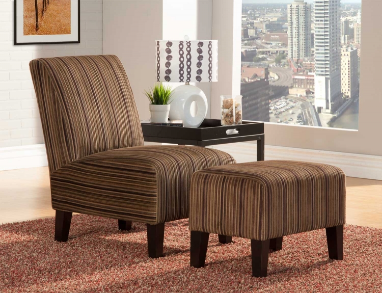 Ione Accent Chair and Ottoman - Brown