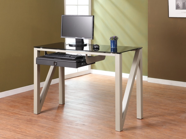 Network Computer Desk in Champagne Finish