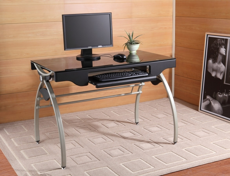 Network Ellipse Computer Desk in Champagne Finish - Homelegance