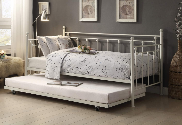 Lorena Metal Daybed with Trundle - White