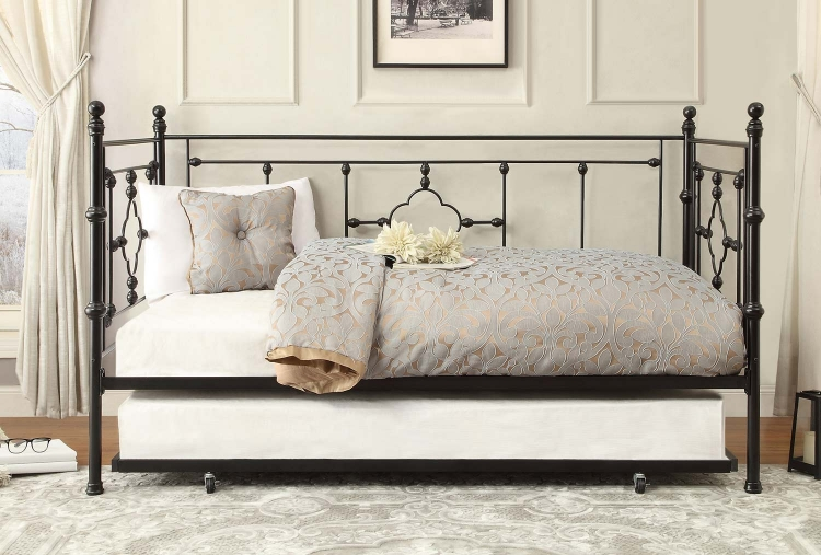 Auberon Metal Daybed with Trundle - Black