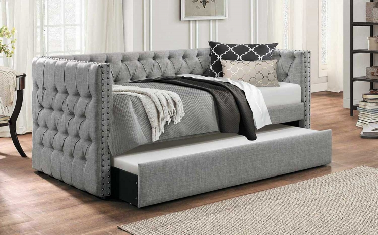Adalie Button Tufted Upholstered Daybed with Trundle - Gray