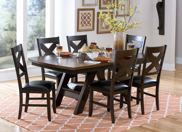 Rockville Dining Set - Two Tone Dark/Light Brown