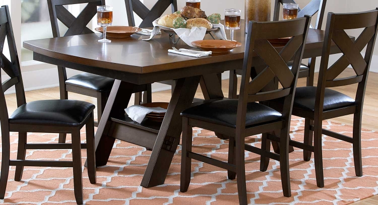 Rockville Dining Table - Two Tone Dark/Light Brown