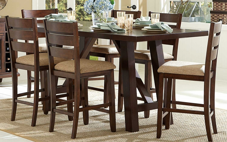 Denton Mills Counter Height Table - Warm Brown