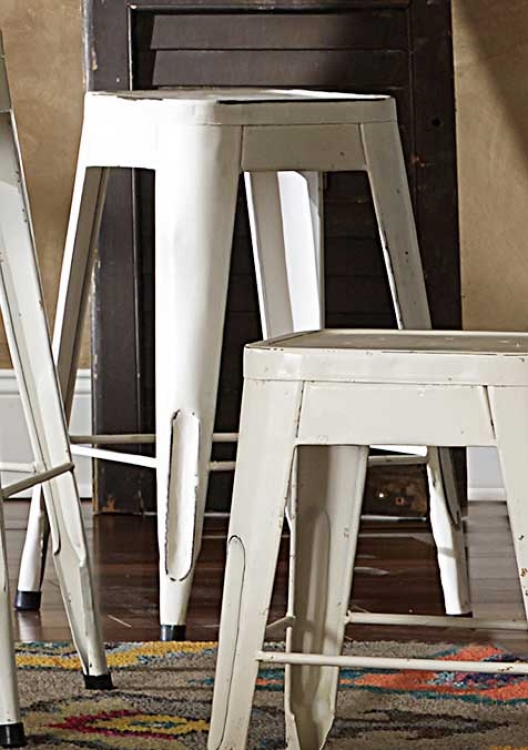 Amara 24in Metal Counter Stool - White