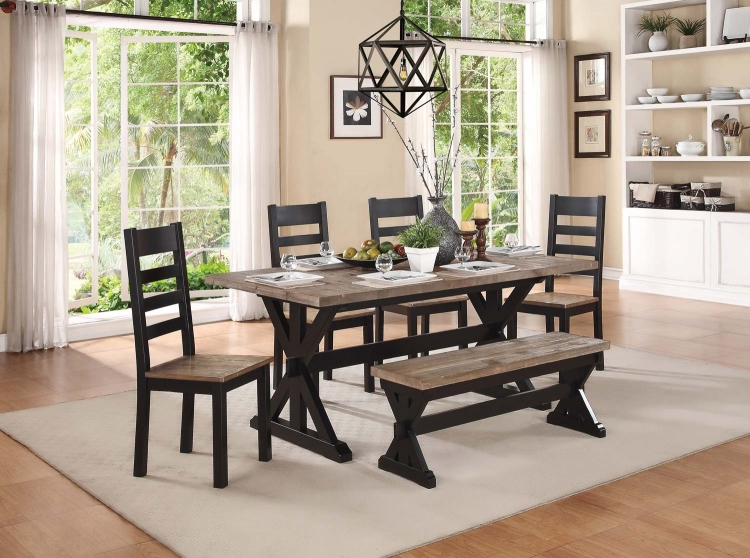 North Port Dining Set - Two Tone Black/Brown