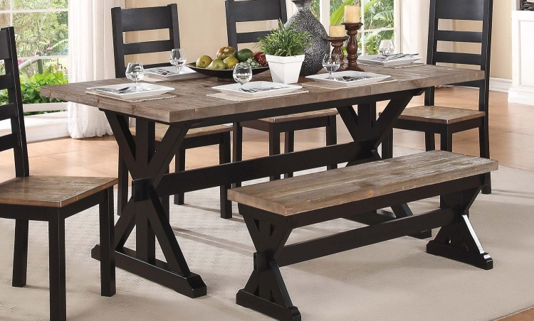 North Port Trestle Dining Table - Two Tone Black/Brown