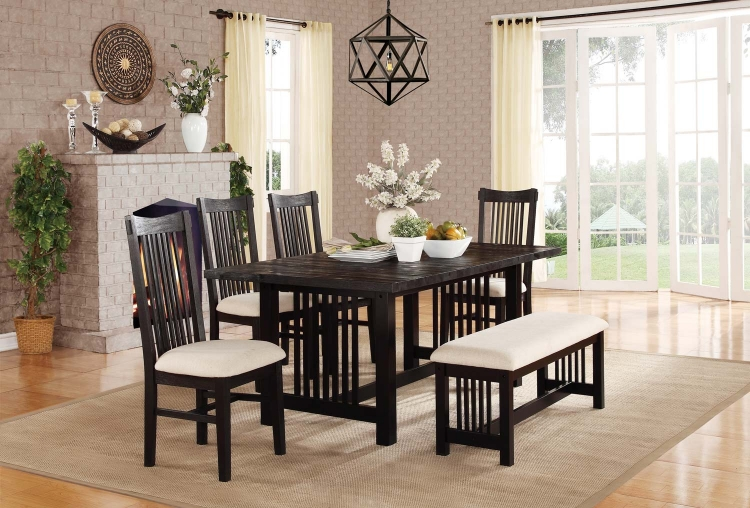 Irrington Dining Set - Beige Fabric - Black Driftwood