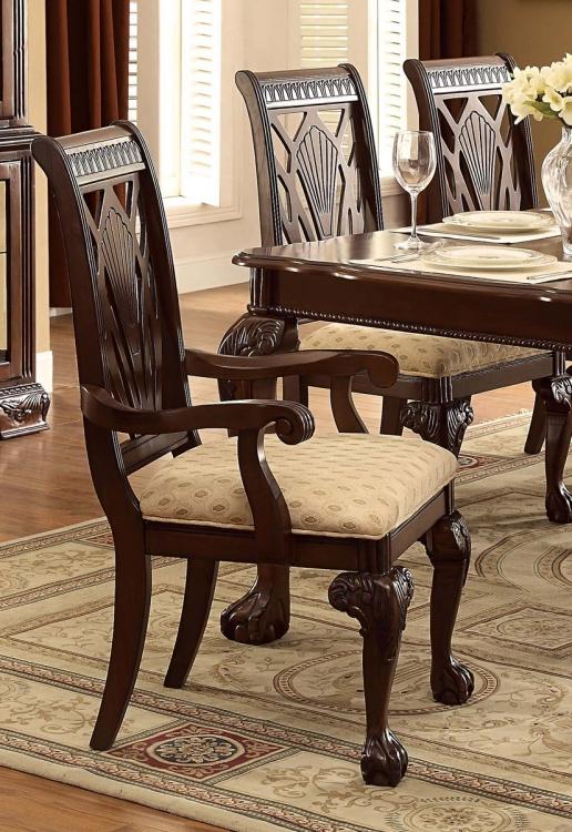 Norwich Arm Chair - Beige Fabric - Warm Cherry