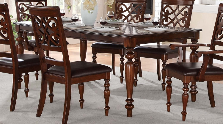 Creswell Leg Dining Table with Leaf - Rich Cherry