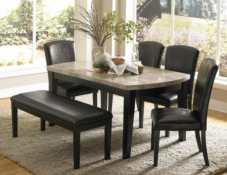 Cristo Dining Set - Black Wood - Marble Top