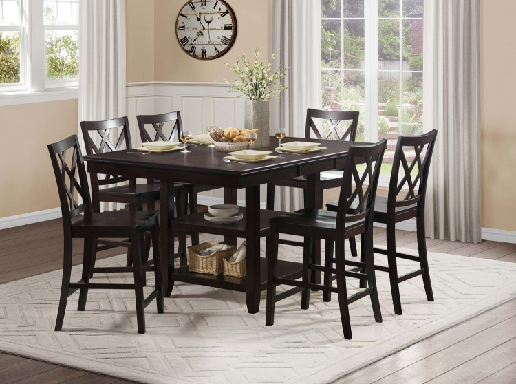 Philipsburg Counter Height Dining Set - Deep Cherry
