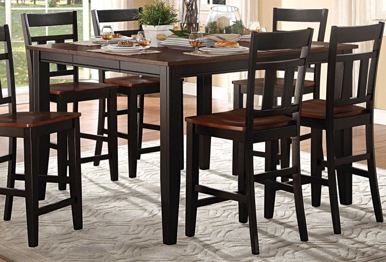 Westport Counter Height Table - Two tone black/cherry