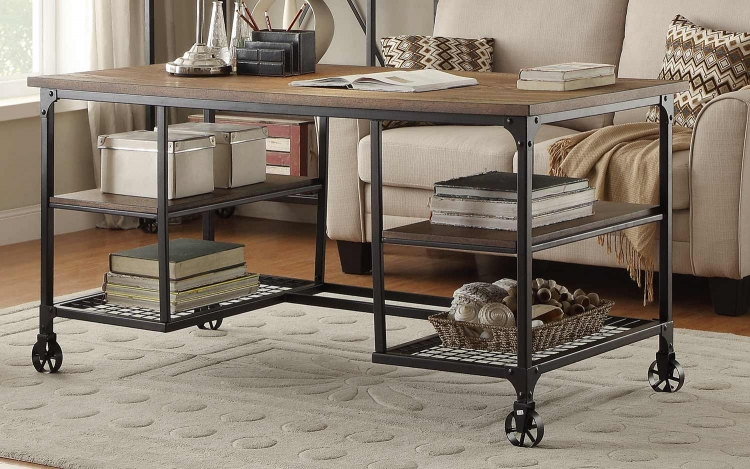 Millwood Writing Desk - Weathered Wood Table Top with Metal Framing