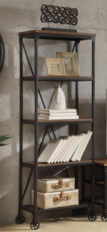 Millwood 26W Bookcase - Weathered Wood Table Top with Metal Framing