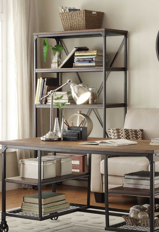 Millwood 40W Bookcase - Weathered Wood Table Top with Metal Framing