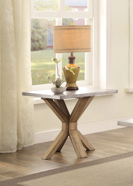 Luella End Table - Weathered Oak with Zinc Table Top