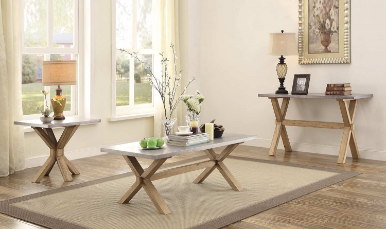 Luella Coffee Table Set - Weathered Oak with Zinc Table Top