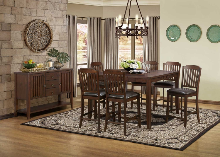 Dickens Counter Height Dining Set - Rich Brown