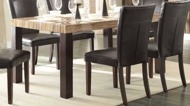 Robins Dining Table - Dark Cherry - Faux Marble Top