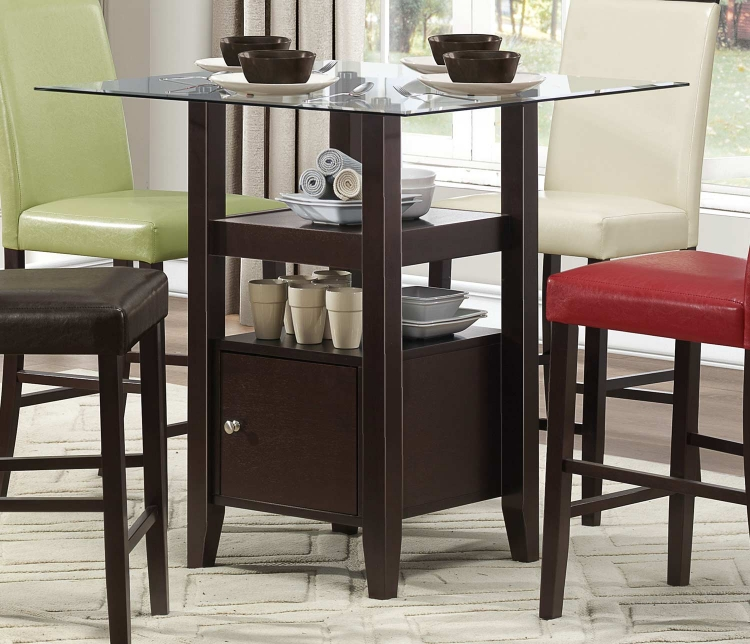 Bari Counter Height Table with Storage Base - Dark Brown