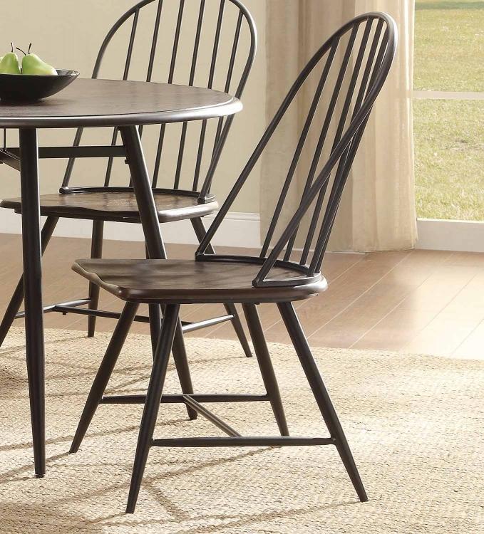 Hesperia Colletion Side Chair - Dark Brown Oak/Metal