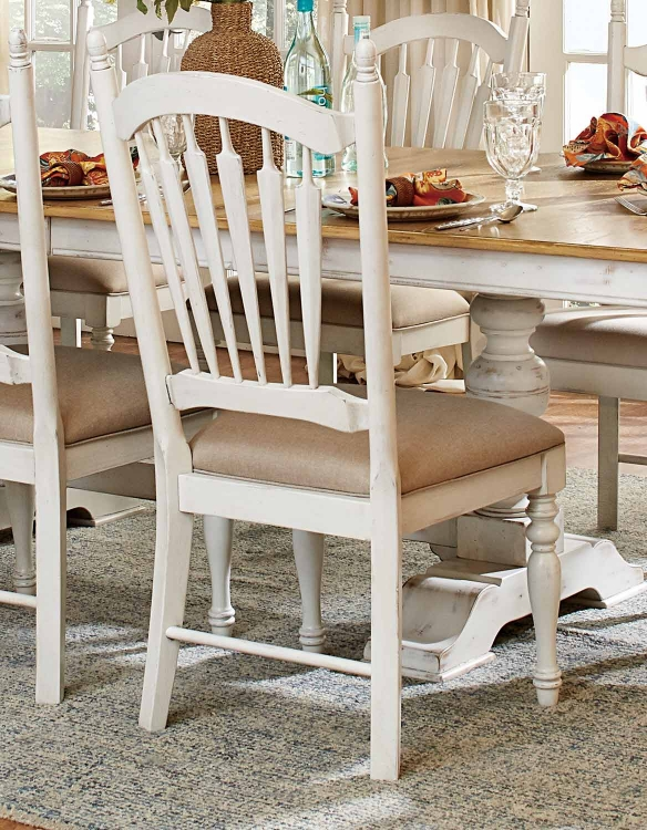 Hollyhock Side Chair - Distressed White/Oak