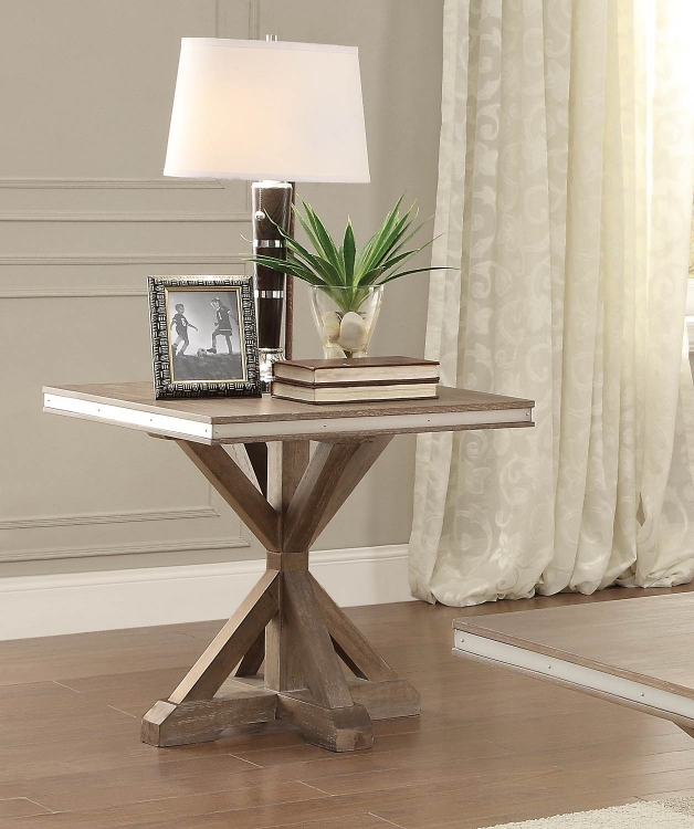 Beaugrand End Table - Light Brown with Stainless Steel Apron Banding