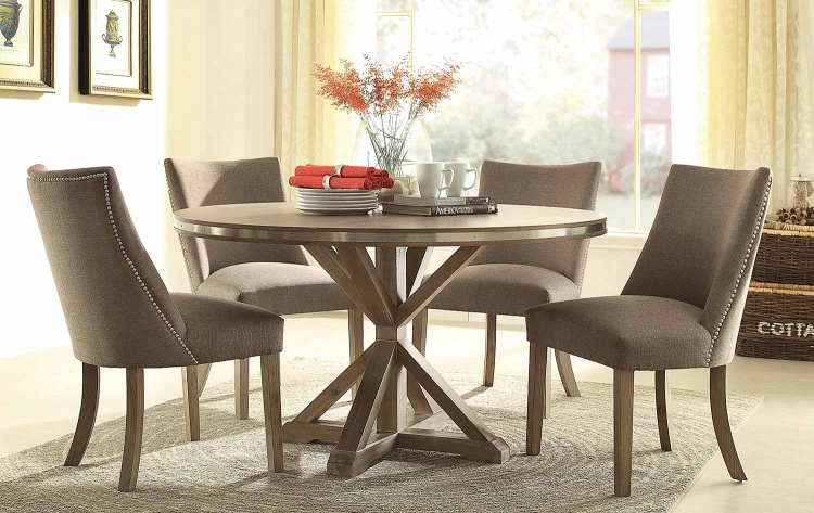 Beaugrand Round Dining Set - Brown
