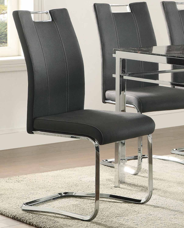 Watt Side Chair - Metal/Dark Grey Upholstery