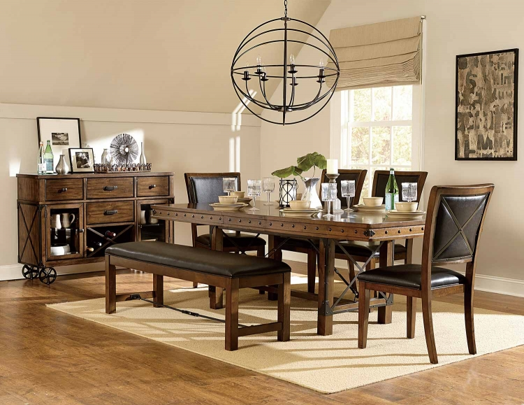 Urbana Trestle Dining Set - Burnished Brown