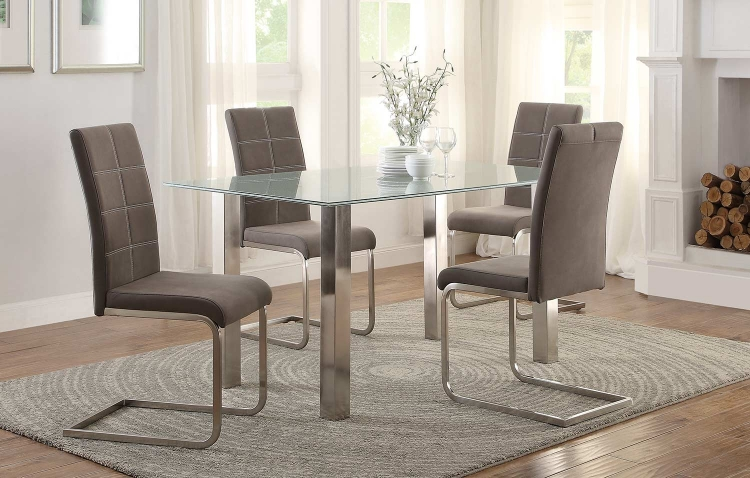 Nerissa Dining Set - Crackle Glass Top/Chrome Legs
