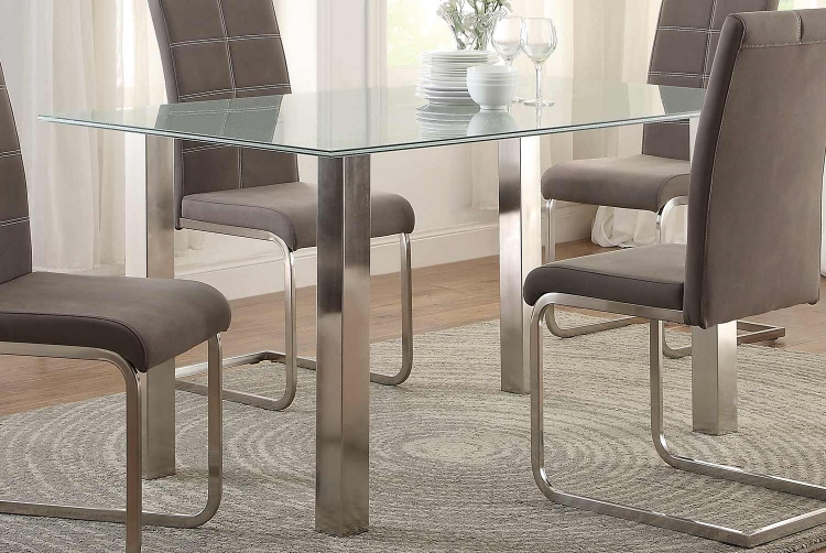 Nerissa Dining Table - Crackle Glass Top/Chrome Legs
