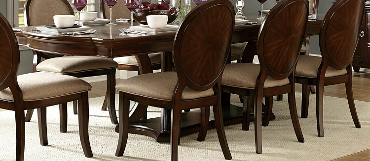 Delavan Pedestal Dining table - Brown Cherry