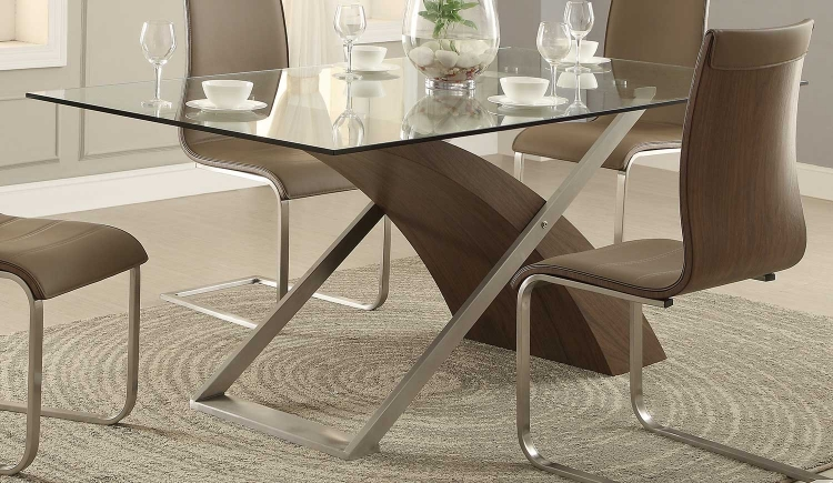Odeon Dining Table - Wood/Stainless Steel