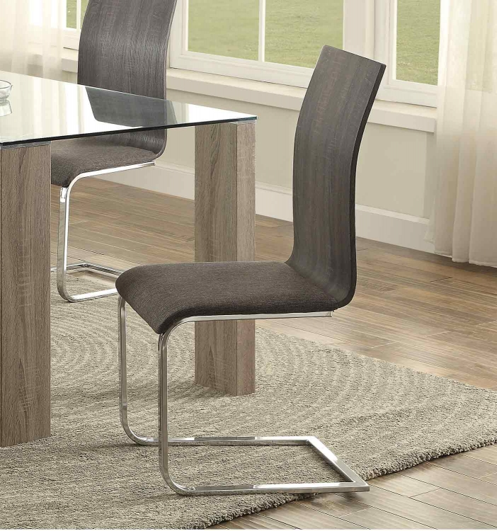 Zeba Side Chair - Dark Grey Fabric/Metal Frame