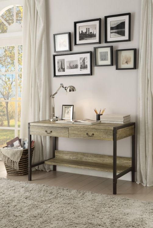 Rumi Writing Desk with Two Drawers - Metal Frame