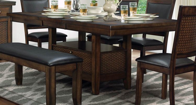 Wickham Dining Table with Storage - Burnished Dark Walnut