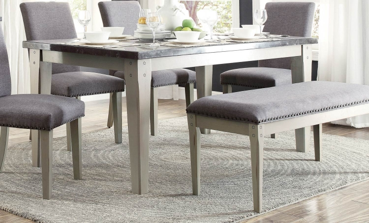 Mendel Dining Table- Bluestone Marble Top - Grey