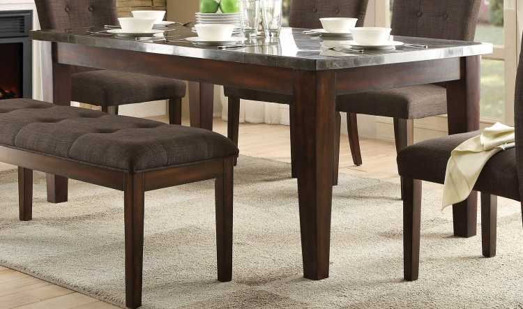Dorritt Dining Table- Bluestone Marble Top - Cherry