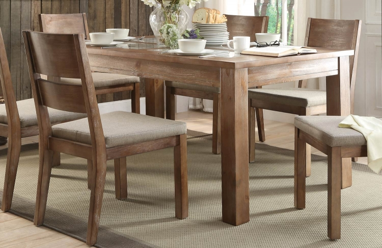 Marion Dining Table - Tile Inset - Natural Weathered