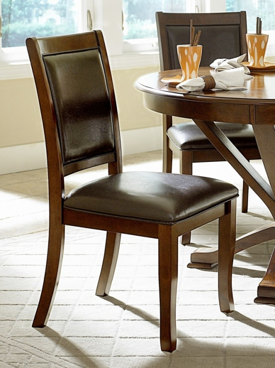 Helena Side Chair in Dark Brown Leatherette - Homelegance