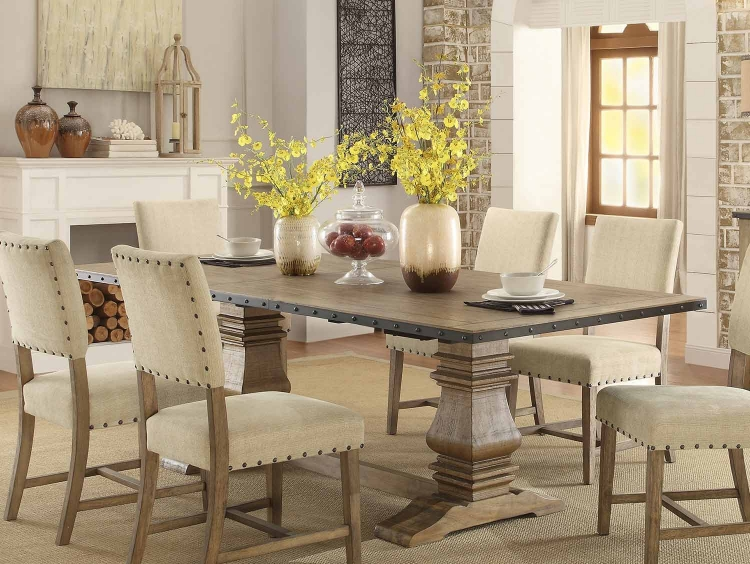 Veltry Double Pedestal Rectangular Dining Table with Leaf - Weathered Finish