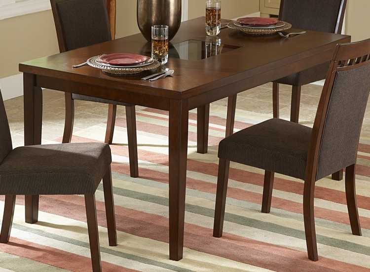 Fleming Dining Table with Glass Insert - Homelegance