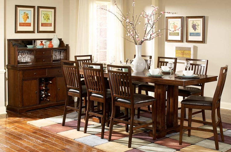 Everett Counter Height Dining Set - Cherry - Homelegance