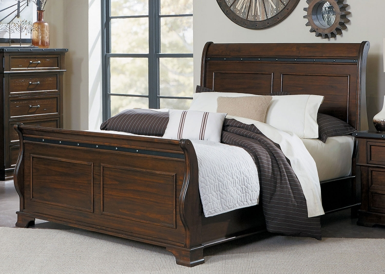 Schleiger Sleigh Bed - Burnished Brown